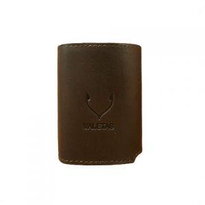 odinė rudos spalvos vyriška piniginė iš priekio