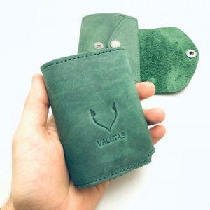 natūralios odos žalia valetas piniginė kortelių dėklas rankoje