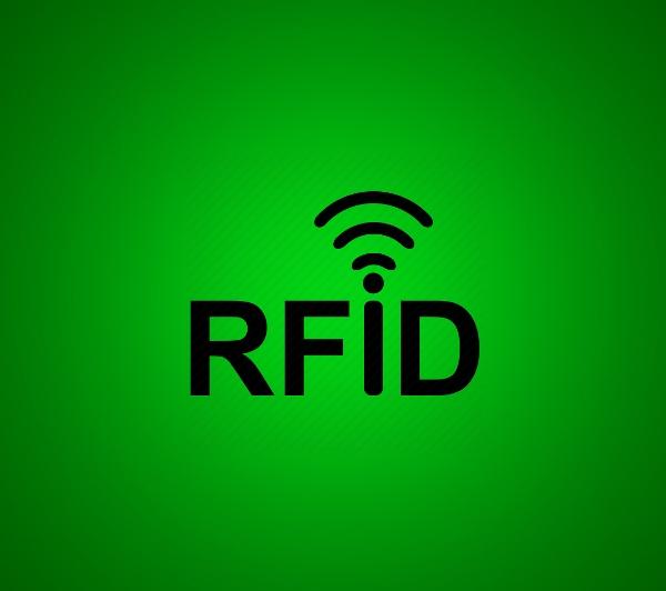 rfid apsaugos ikona žaliame fone