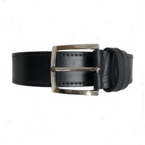 juodos spalvos odinis vyriškas diržas iš priekio 2
