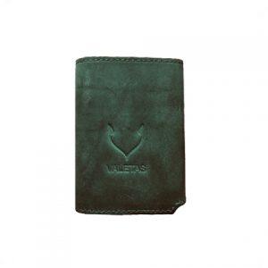 odinė šviesiai žalios spalvos vyriška piniginė iš priekio
