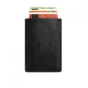 juoda odinė piniginė be centinės su kortelėmis