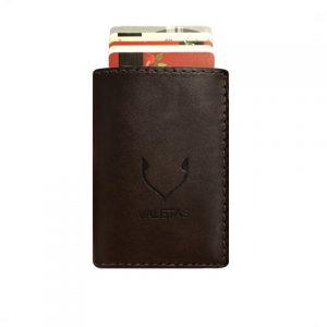 tamsiai ruda odinė piniginė su kortelėmis