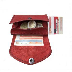 moteriška raudona odinė piniginė 2