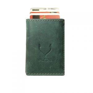 žalia odinė vyriška piniginė su banko kortelėmis